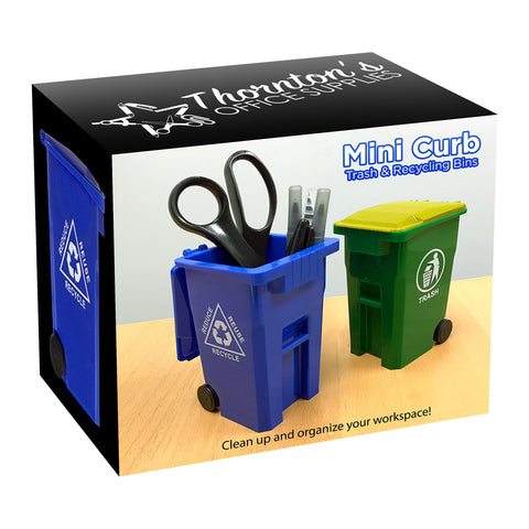 Thornton's Office Supplies Mini Curbside Trash and Recycle Can Set Pencil Cup Holder - Green/Blue