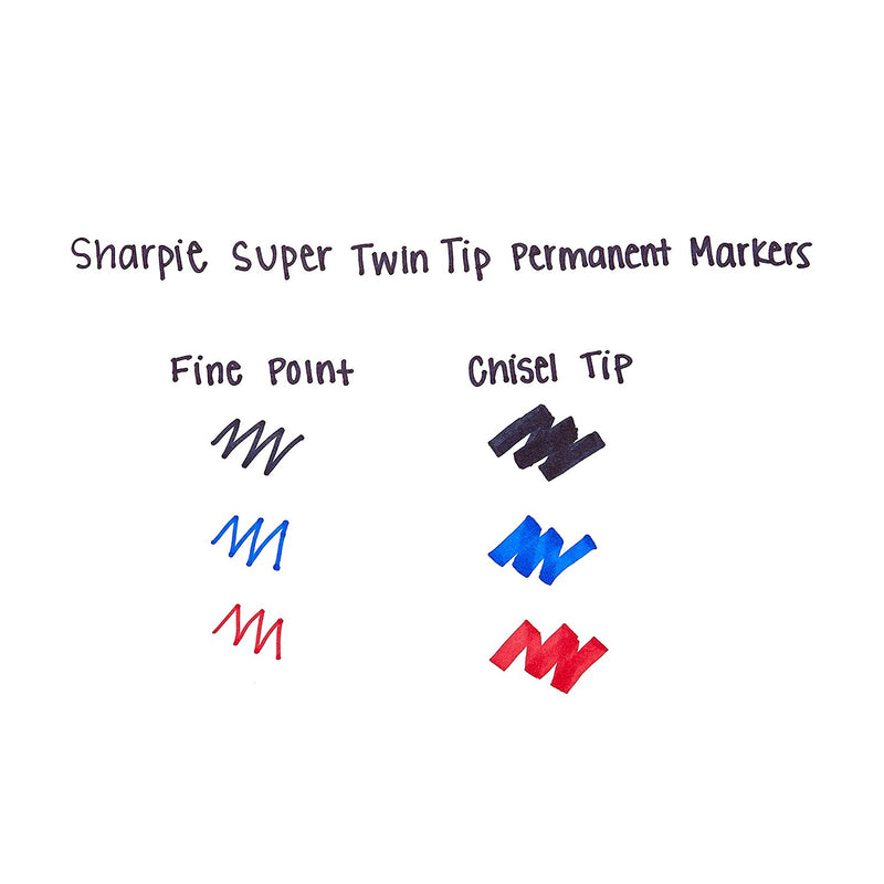 Sharpie Super Twin-Tip Permanent Marker, Fine and Chisel, Black, 1-Count