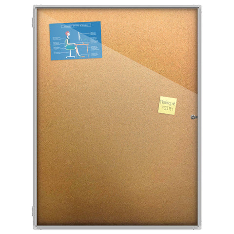 Thornton's Office Supplies Aluminum Frame Wall Mount Enclosed Cork Bulletin Board, 48 x 36