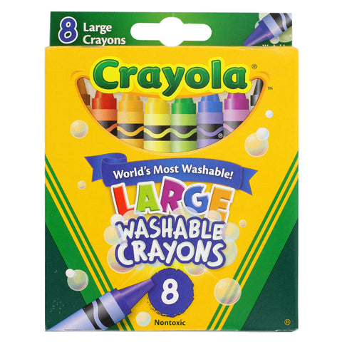 Crayola Large Washable Crayons, Nontoxic, Sharpened, Assorted, Pack of 8