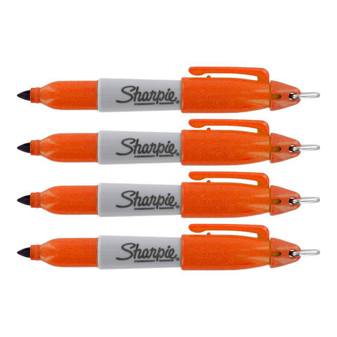 Sharpie Mini Permanent Marker, Fine Point, Orange Ink, 4-Count