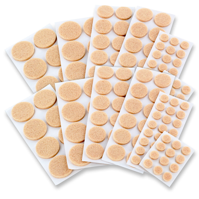 Junipers Assorted Furniture Felt Floor Protector Pads, Pack of 152 - Natural