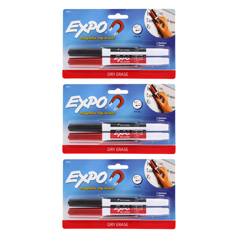 Expo Low Odor Dry Erase Markers, Fine Point, Black and Red, Pack of 6 with Magnetic Clip Eraser