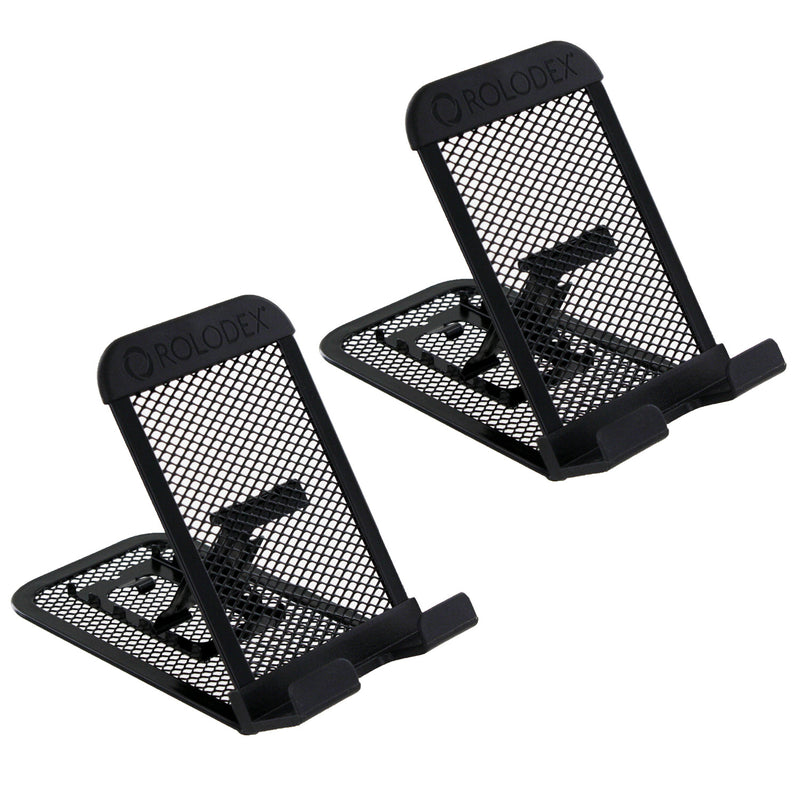 Rolodex Mesh Collection Mobile Device and Tablet Stand, Black, Pack of 2