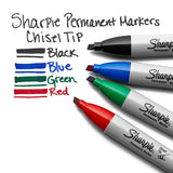 Sharpie Permanent Marker, Chisel Tip, Blue, 12-Count