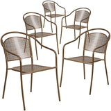 Flash Furniture Indoor-Outdoor Steel Patio Arm Chair with Round Back, Set of 5 - Gold