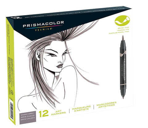 Prismacolor Premier Double-Ended Art Markers, Fine and Brush Tip, Warm Grey, 12-Count
