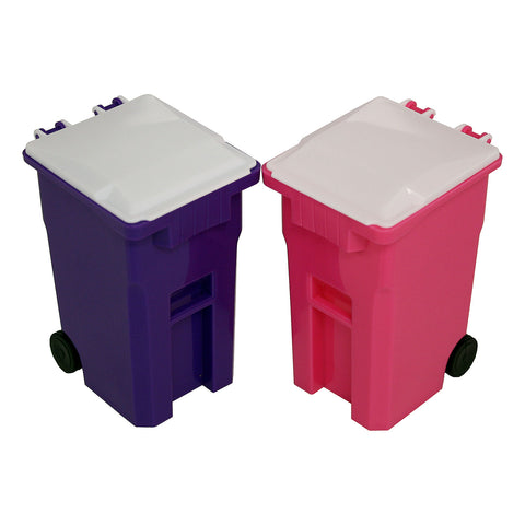 Thornton's Office Supplies Mini Curbside Trash and Recycle Can Set Pencil Cup Holder - Pink/Purple