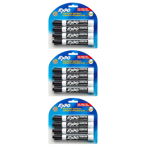 Expo Low Odor Dry Erase Markers, Chisel Tip, Black Ink, 12-Count (80661)