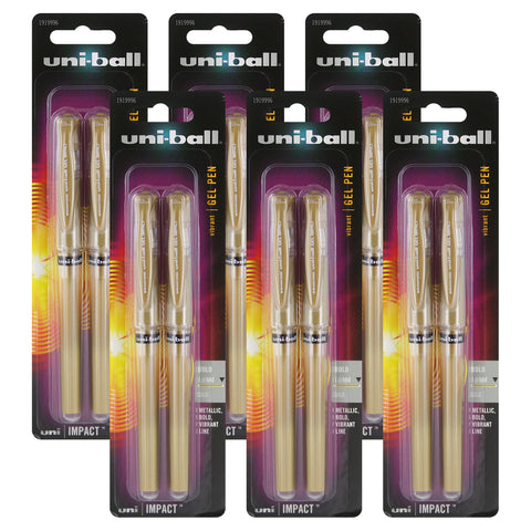 Uni-Ball Gel Impact Stick Gel Rollerball Pens, 1.0mm, Bold Point, Gold Ink, Pack of 12