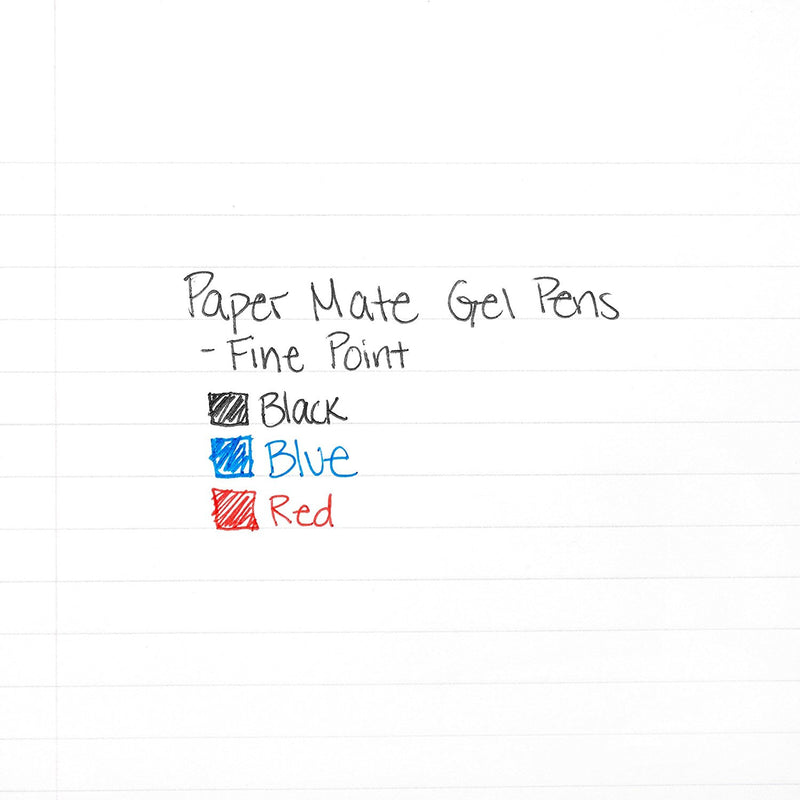 Paper Mate Retractable Rollerball Gel Ink Pen, 0.5mm, Fine Point, Red Ink, Pack of 12