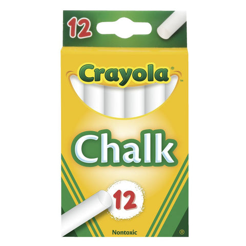 Crayola Non-Toxic School and Craft Chalk, White, 12 count (51-0320)