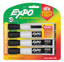 Expo Magnetic Dry Erase Markers with Eraser, Chisel Tip, Black, 4-Count