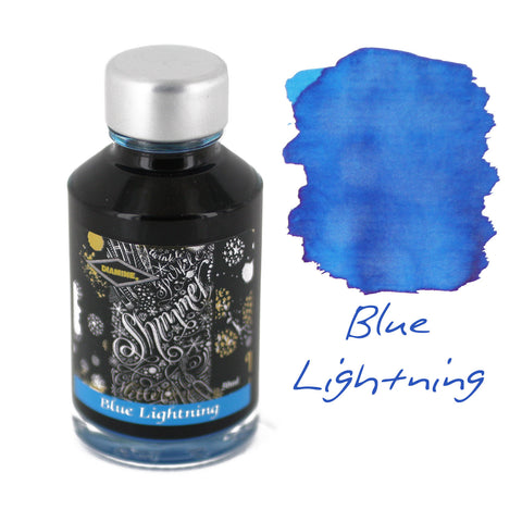 Diamine Fountain Pen Bottled Ink, 50ml - Shimmering Blue Lightning