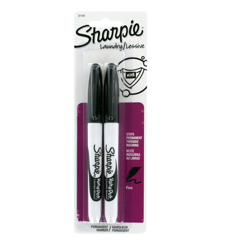 Sharpie Rub-a-Dub Permanent Markers, Fine Point, Black Ink, Pack of 2