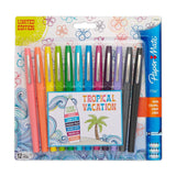 Paper Mate Flair Felt Tip Pens, 0.7mm, Medium Point, Assorted Tropical Colors, Pack of 12