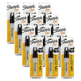 Sharpie Professional Permanent Marker, Chisel Tip, Black Ink, 12 Count