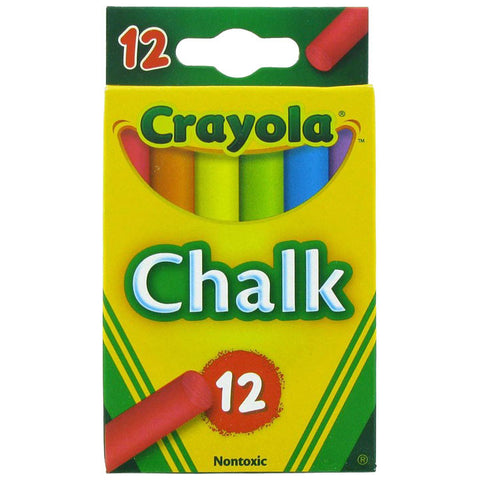 Crayola Non-Toxic Chalk, Assorted Colors, 12 count (51-0816)