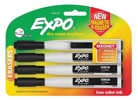 Expo Magnetic Dry Erase Markers with Eraser, Fine Tip, Black, 4-Count