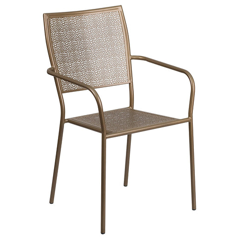 Flash Furniture Indoor-Outdoor Steel Patio Arm Chair with Square Back - Gold