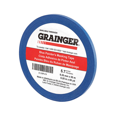 "Grainger Paper Painters Masking Tape, Rubber Tape Adhesive, 5.60 mil Thick, 1/4"" X 60 yd., Blue, 1 Roll"