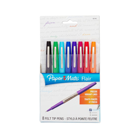 Paper Mate Flair Porous-Point Felt Tip Pen, Ultra-Fine, Core Colors, 8-Count