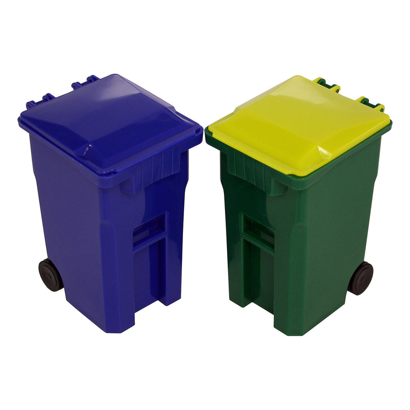 Thornton's Office Supplies Mini Curbside Trash and Recycle Can Set Pencil Cup Holder - Green/Blue - Pens N More