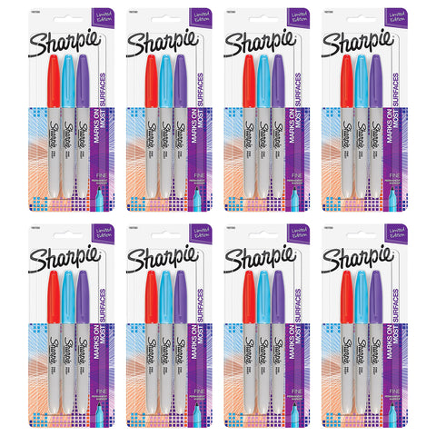 Sharpie Permanent Markers, Fine Point, Assorted Electro Pop Colors, 24-Count