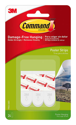 Command Poster Hanging Strips, 24 Strips, White, 17024