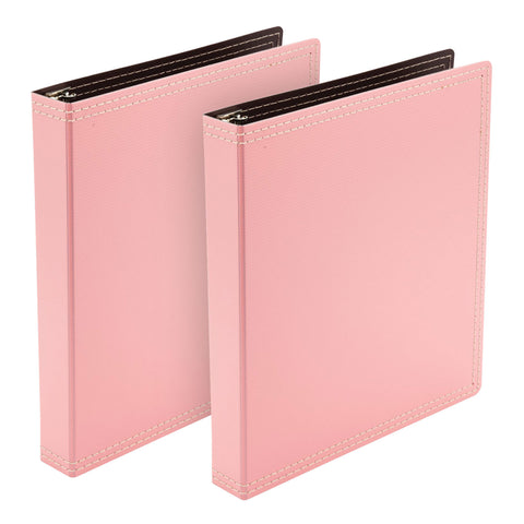 Wilson Jones Resource Recycled 3-Ring Binder, Durable Hinge, 1 Inch Capacity, Pink, 2-Count (W31921)