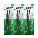 Sharpie Soft Grip Retractable Pen, 0.8mm, Fine Point, Black Ink, 6-Count