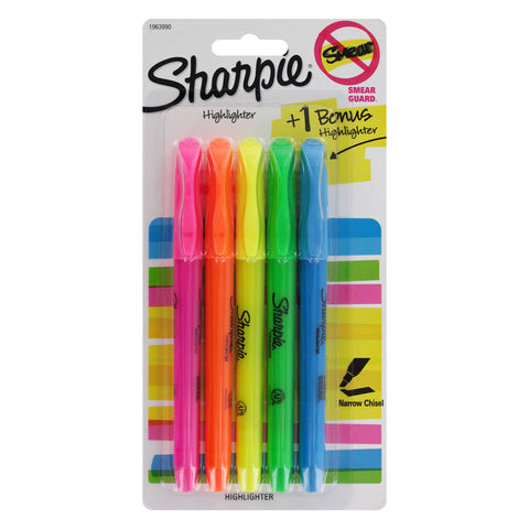 Sharpie Accent Pocket Highlighters, Narrow Chisel Tip, Assorted Colors, 5-Count