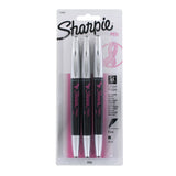 Sharpie Pink Ribbon Grip Porous Point Pen, 0.8mm, Fine Point, Black Ink, 3-Count