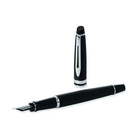 Waterman Expert 3 Matte Black CT Fine Point Fountain Pen with Notebook Gift Set