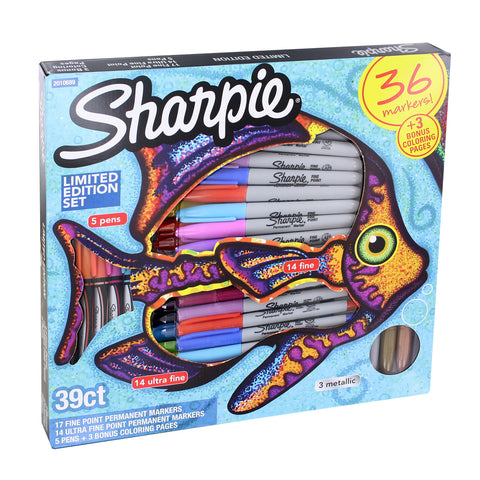 Sharpie Permanent Markers, Limited Edition Set, Assorted Colors, 36-Count Assorted Set Plus Bonus Coloring Pages