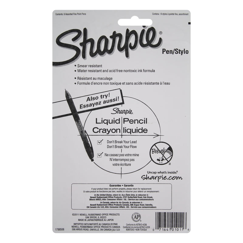 Sharpie Plastic Point Stick Water Resistant Pens, Fine Point, Assorted Colors, Pack of 18