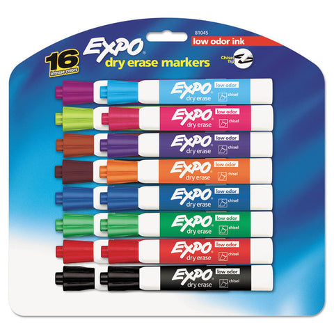 Expo Dry Erase Markers, Chisel Tip, Assorted, 16 / Pack