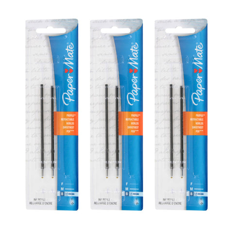 Paper Mate Profile Retractable Ball Point Pen Refills, 1.4mm, Bold Point, Black Ink, 6-Count