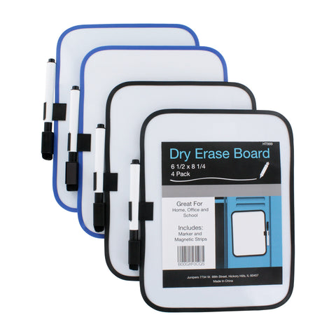 Dry-Erase 6 x 8 Whiteboards w/Marker & Magnet Strips, 4/Pack (Colors May Vary)