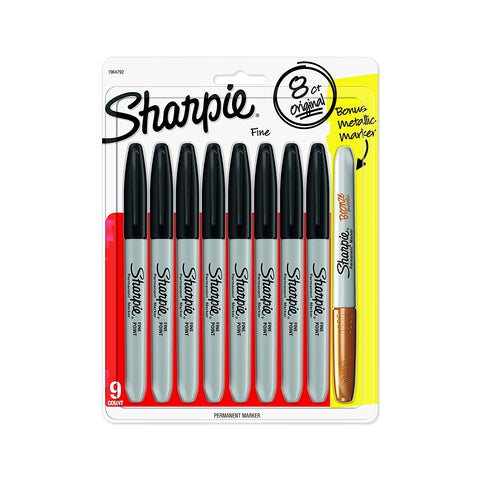 Sharpie Permanent Markers, Fine Point, Black Ink, Pack of 8 + 1 Metallic