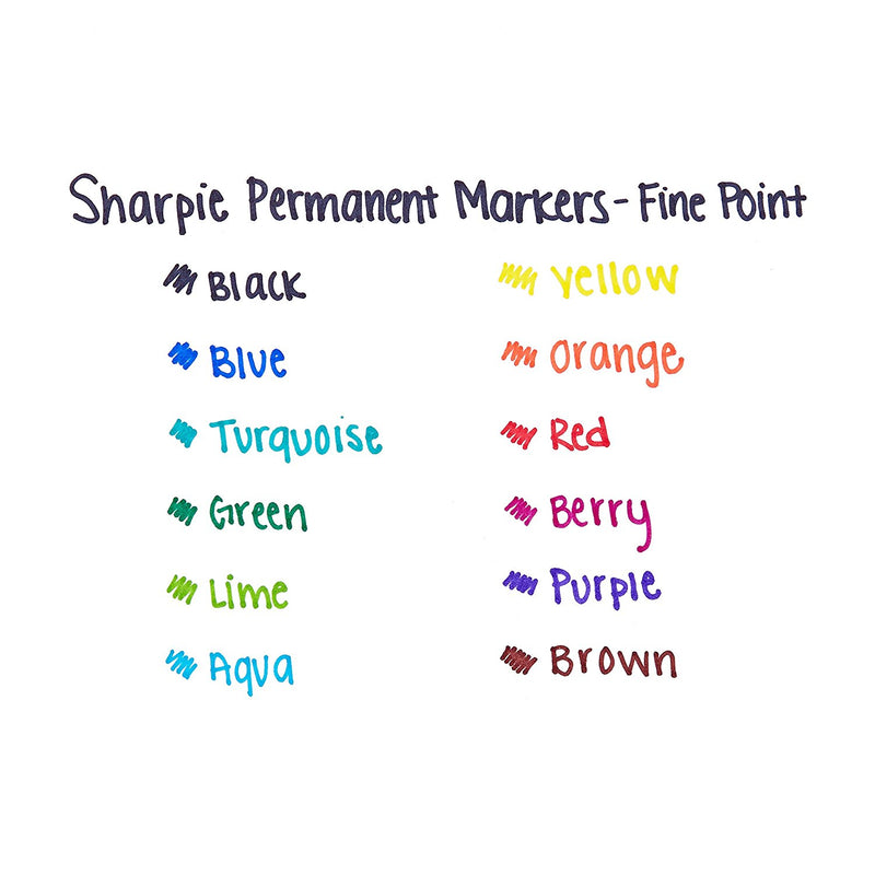 Sharpie Permanent Markers, Fine Point, Blue Ink, 12-Count