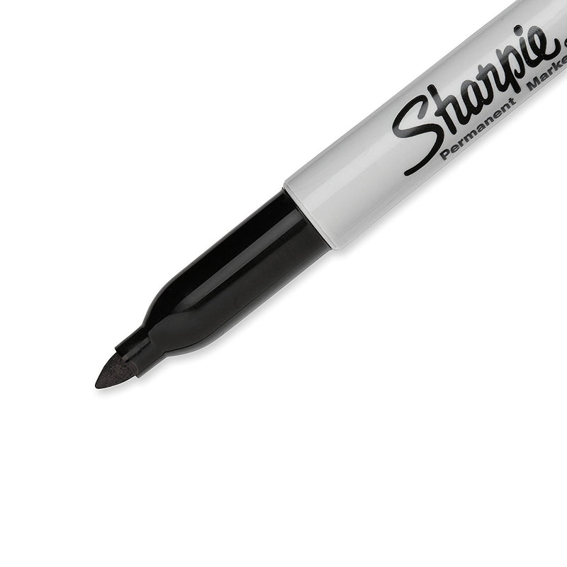 Sharpie Permanent Markers, Fine Point, Black Ink, Pack of 24