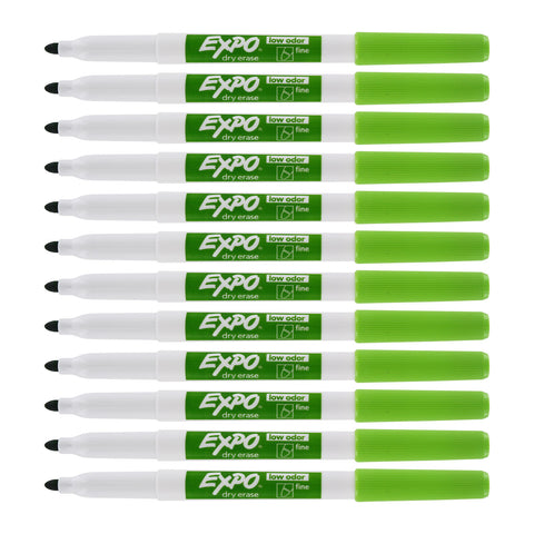 Expo Low Odor Dry Erase Markers, Fine Tip, Lime Green Ink, 12-Count