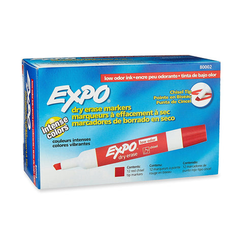 Expo Low Odor Dry Erase Marker, Chisel Tip, Red Ink, Pack of 12