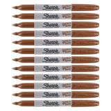 Sharpie Metallic Permanent Marker, Fine Point, Bronze, 12-Count