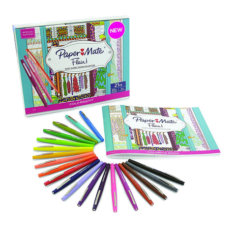 Paper Mate Flair Felt Tip Pens, Medium Point, Assorted Colors, 20 Count with Women's Closet Adult Coloring Book