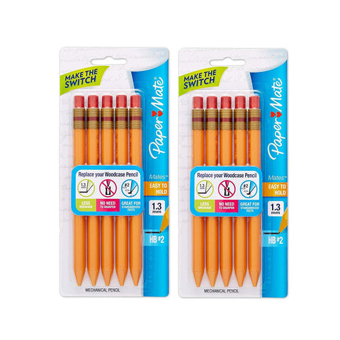 Paper Mate Mates Mechanical Pencils, 1.3mm HB Number 2 Leads, Yellow Barrel, 10-Count