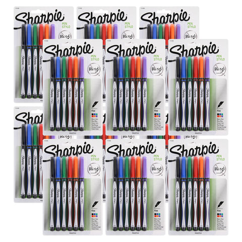 Sharpie Plastic Point Stick Water Resistant Pens, Fine Point, Assorted Colors, Pack of 72