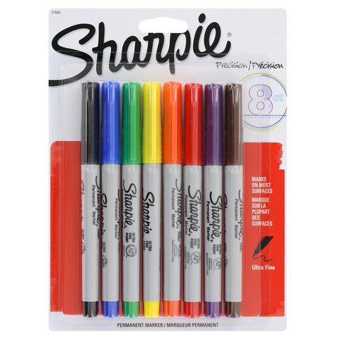 Sharpie Permanent Markers, Ultra Fine Point, Assorted Colors, Pack of 8 (37600)
