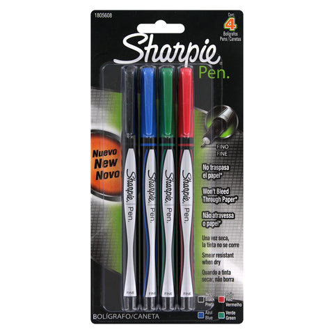 Sharpie Plastic Point Pen, 0.8mm, Fine Point, Assorted Colors, 4 Count